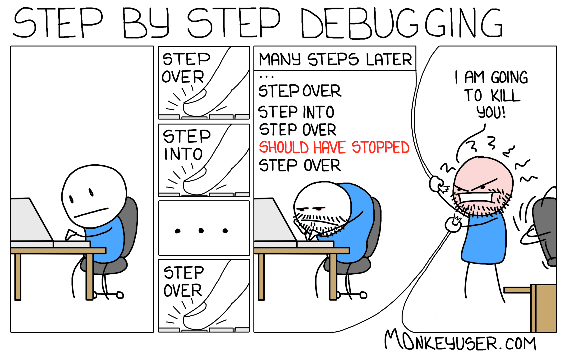 Step by step debugging cartoon