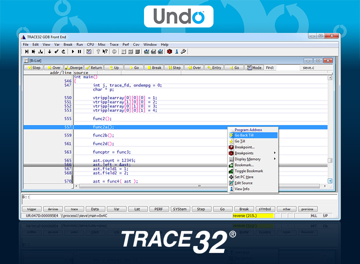 Integration of TRACE32 and UndoDB